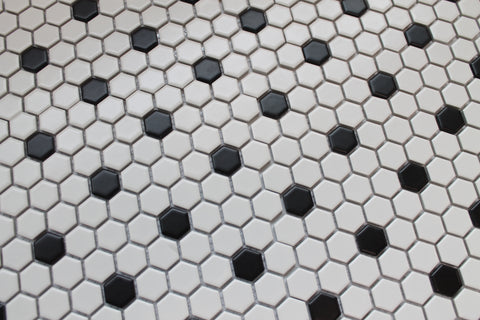 Glazed Porcelain Hexagon Mosaic Tiles - 1 Inch Black and White Tiles - 8.15 Sq Ft Box - Rocky Point Tile - Glass and Mosaic Tile Store