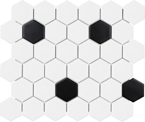 Glazed Porcelain Hexagon Mosaic Tiles - 2 Inch Black and White Tiles - 9.3 Sq Ft Box - Rocky Point Tile - Glass and Mosaic Tile Store