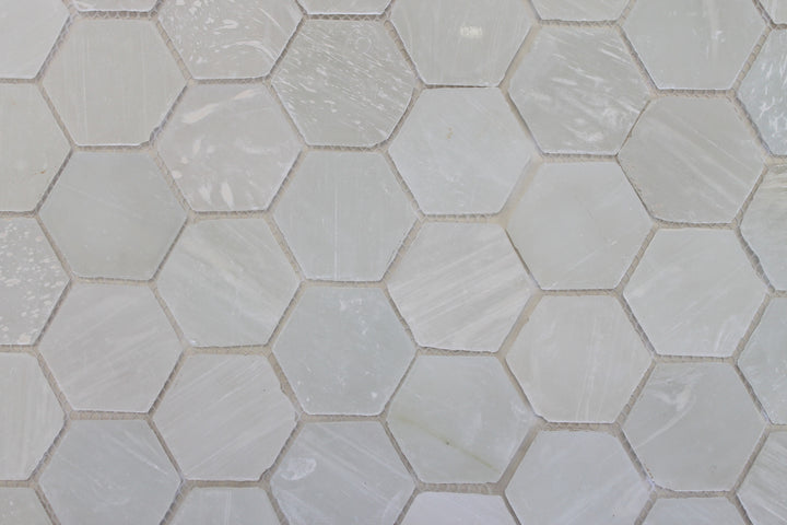 White Beach Glass Recycled Hexagon Mosaic Tile – Rocky Point Tile ...