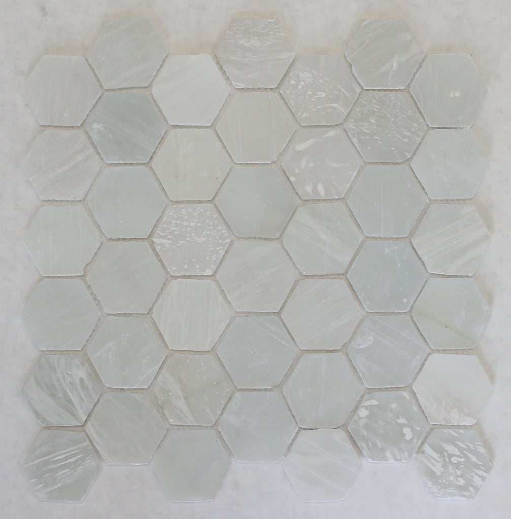 - White Beach Glass Recycled Hexagon Mosaic Tile – Rocky Point Tile