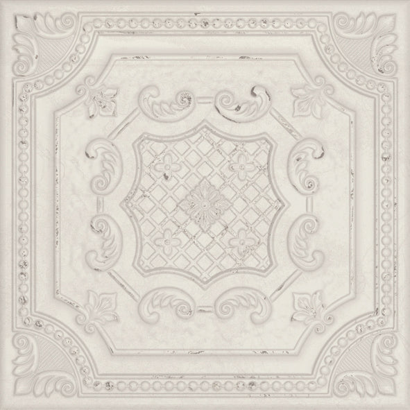Gatsby Ceramic 8x8 Tin Look Tiles - White