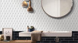 Atlanta Elongated 3D Hexagon Mosaic Tiles - White