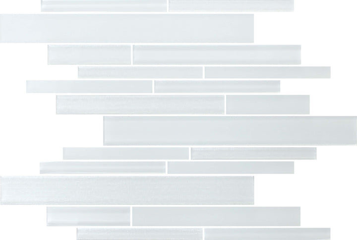 Monogram White Random Strip Mosaic Tile - Rocky Point Tile - Glass and Mosaic Tile Store