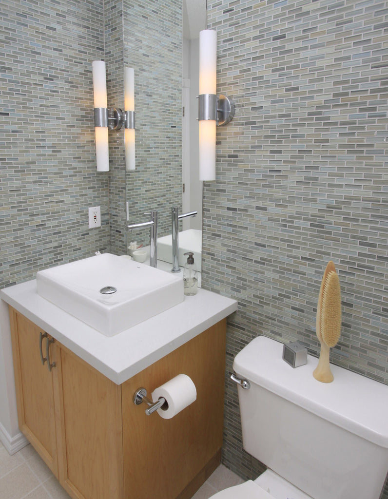 Reflections Hand Painted Glass Mosaic Subway Tile Rocky