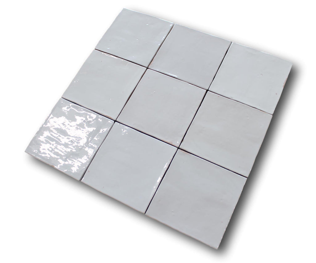 Mestizaje Zellige 5 x 5 Ceramic Tiles - White Gloss