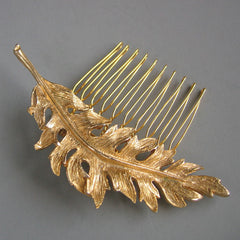 Arabelle - Matte Leaf Gold Hair Comb