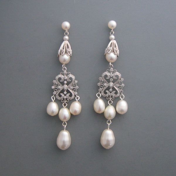 Maura - Long Pearl Chandelier Earrings