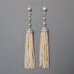 Trena - Long Deco Pearl Tassel Earrings