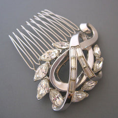 Swirls of Love - Vintage Crystal Hair Comb