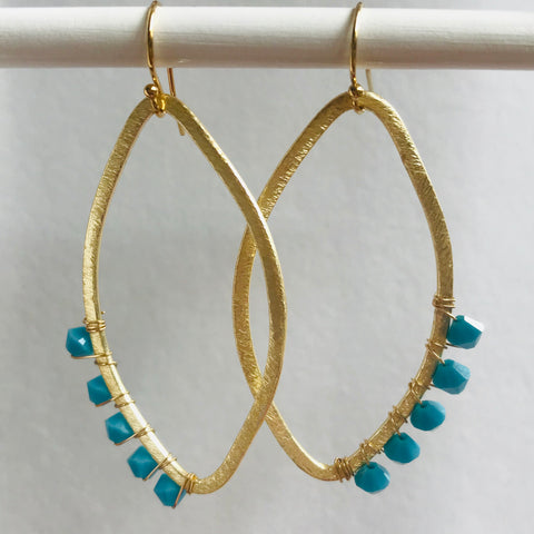 Turquoise Earrings on Gold Plate Charleston area designer jewelry