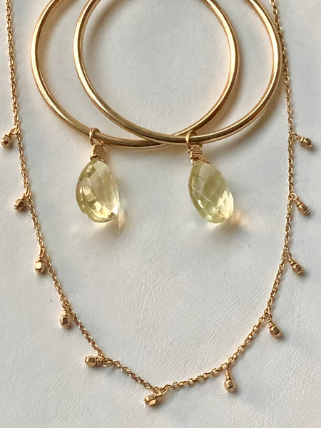14 KT gold fill findings, chain, and beads, on dainty necklace paired with citrine earrings.