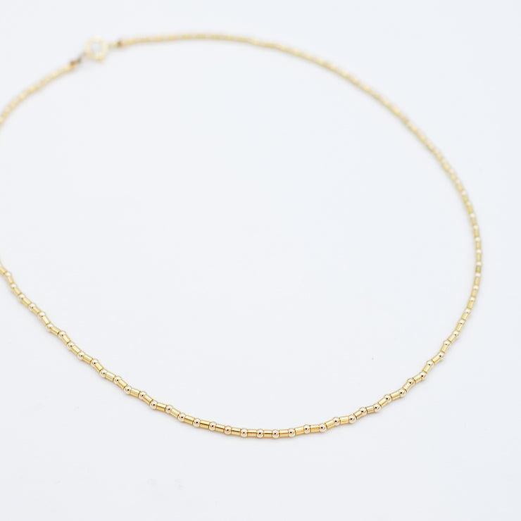 2.5mm 14K Goldfill Beaded Tube Necklace