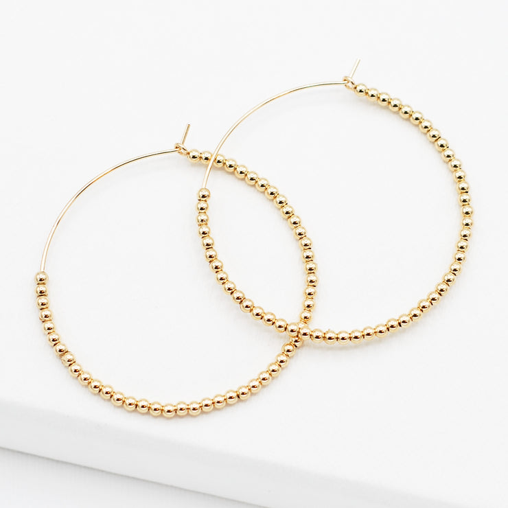 Large 14k Goldfill 2.5mm Beaded Hoops