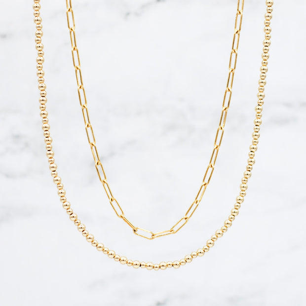 Goldfill Medium Paper Clip Chain & Beaded Necklace Layering Set