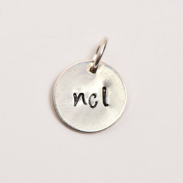 "1/2"" Silver Hand Stamped Charm"