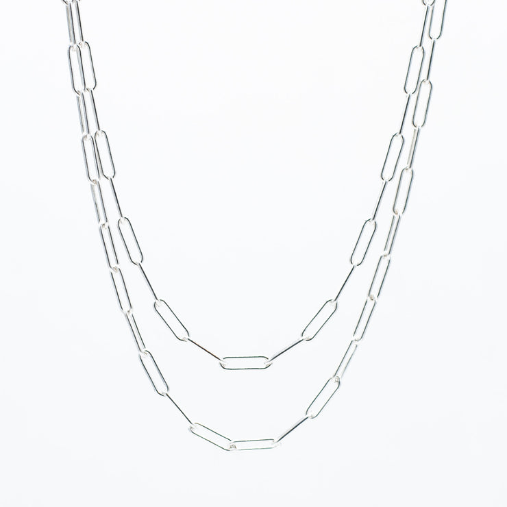 Sterling Silver Large Paper Clip Long Chain