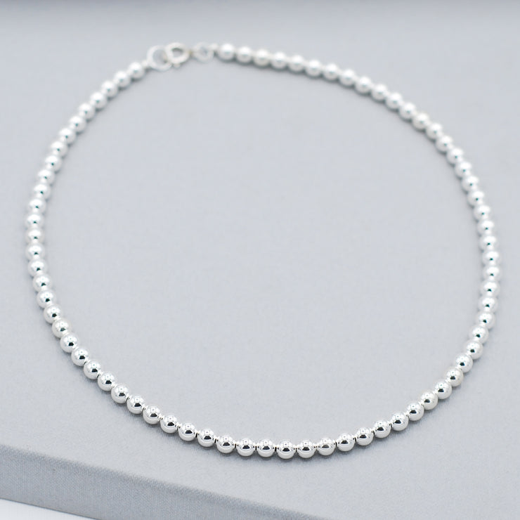 6mm Sterling Silver Beaded Necklace