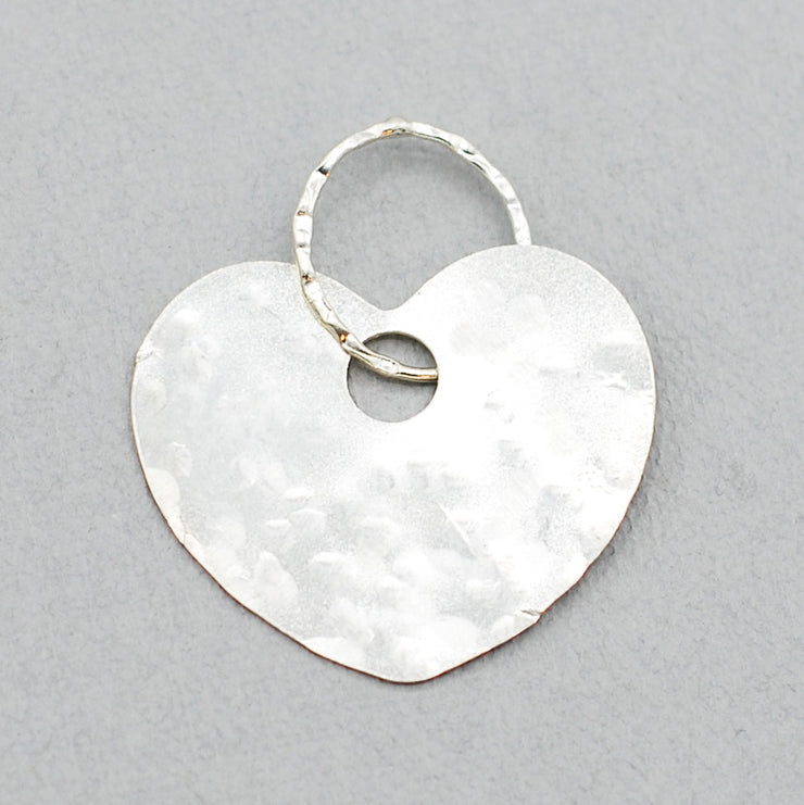 Sterling Silver Heart Hammered Pendant