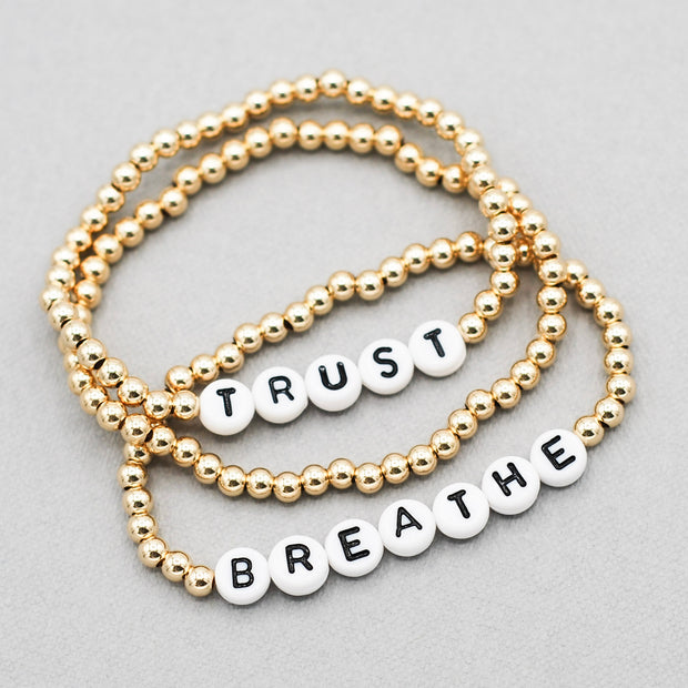 2 Word Mantra 'Breathe & Trust' 4mm Bracelet Set