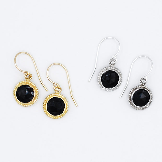 Black Onyx & Sterling Silver Earrings