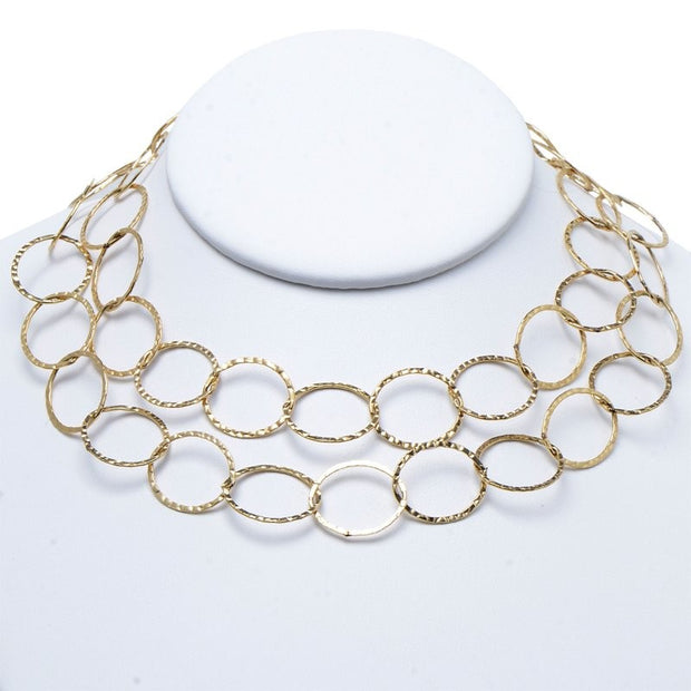17mm Goldfill Hammered Long Chain