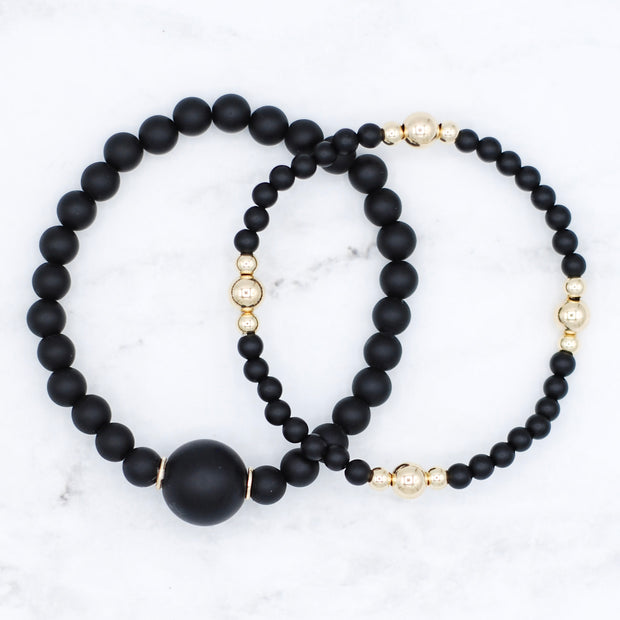 Matte Black Onyx & Goldfill Bracelet Set