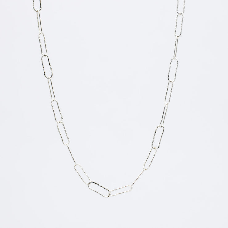 Sterling Silver Extra Large Hammered Paper Clip Layering Chain