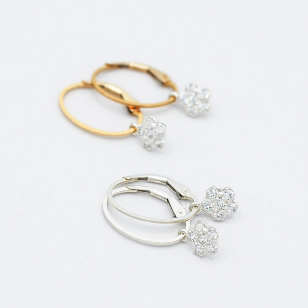 Clip Hoops & Cubic Zirconia Flower Drops
