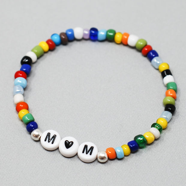 Personalized 'Mom' Multicolor African Trade Seed Bead Bracelet