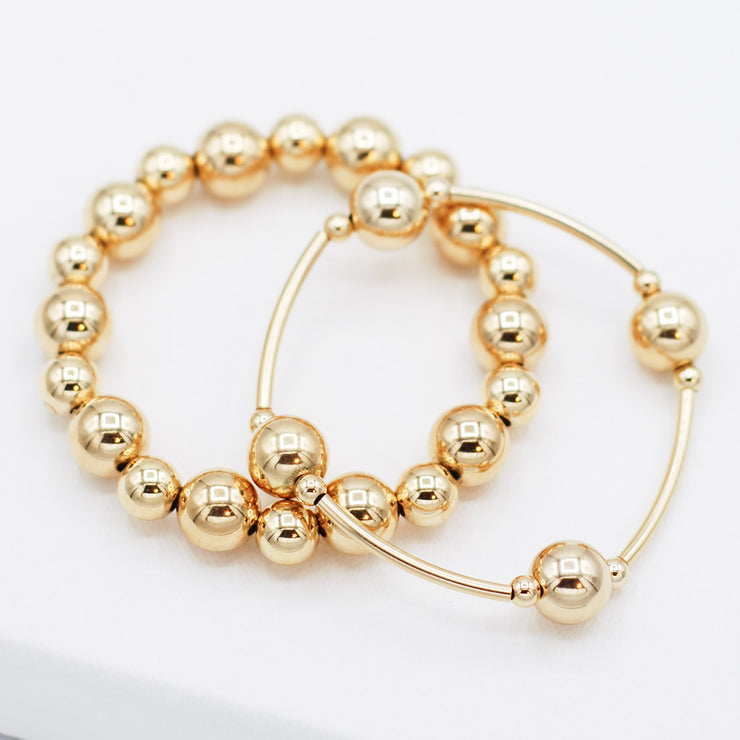 14K Goldfill Tube & Beaded Lux Bracelet Set