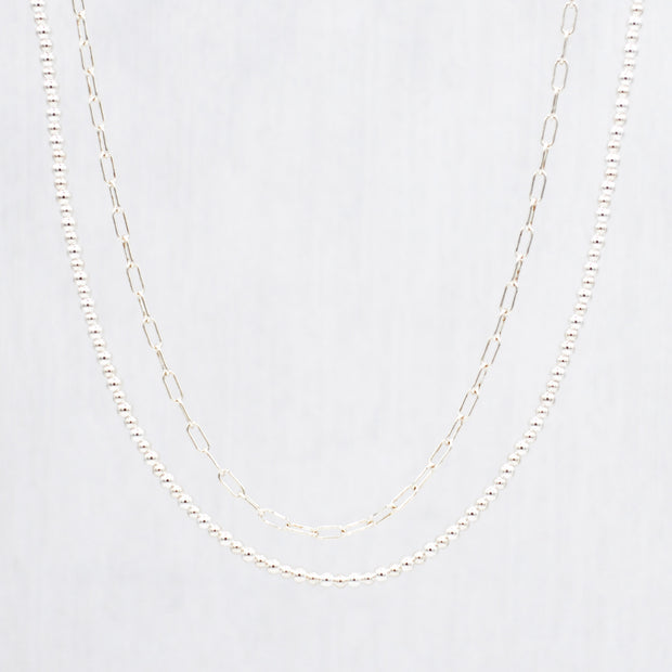 Sterling Silver Small Paper Clip Chain & Beaded Necklace Layering Set