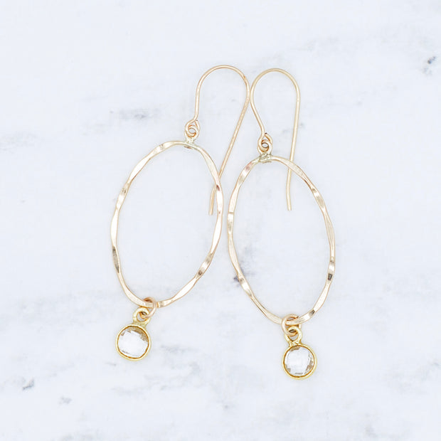Goldfill Oval & Crystal Quartz Earrings