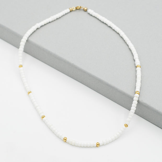 White Shell & Goldfill Beaded Necklace