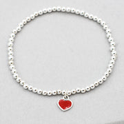 3mm Sterling Silver & Red Enamel Heart Bracelet