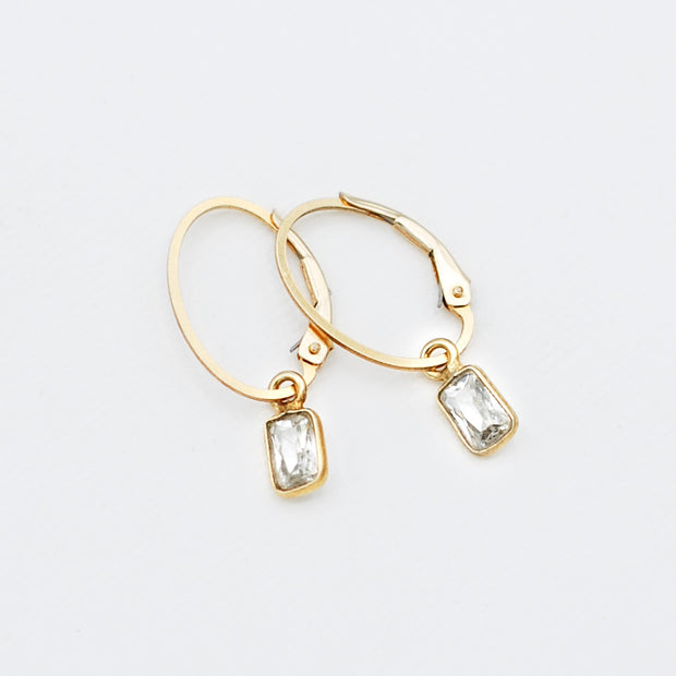 Clip Hoops & Cubic Zirconia Rectangle Drops