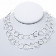 13mm Sterling Silver Hammered Long Chain