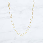 Goldfill & Sterling Silver XLarge Paper Clip Chain Necklace Layering Set