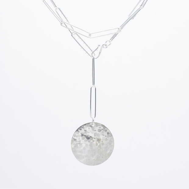 Sterling Silver XXL Paper Clip Wrap Lariat Disc Necklace