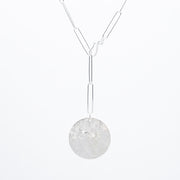Sterling Silver XXL Paper Clip Lariat Disc Necklace