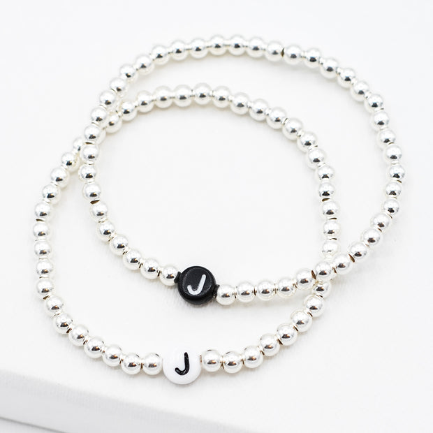 Name It Initial 'J' 4mm Sterling Silver Bracelet