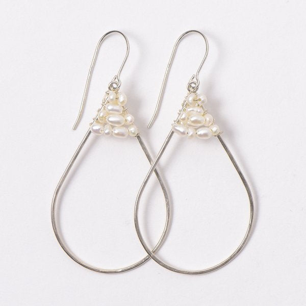 Wire Wrapped Freshwater Pearl Earrings