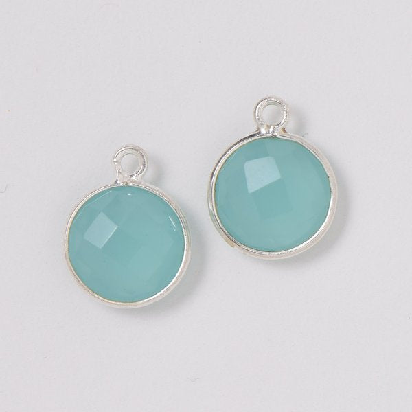 Sea Green Chalcedony Hoop Drops