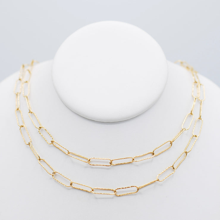 Goldfill Extra Large Hammered Paper Clip Long Layering Chain