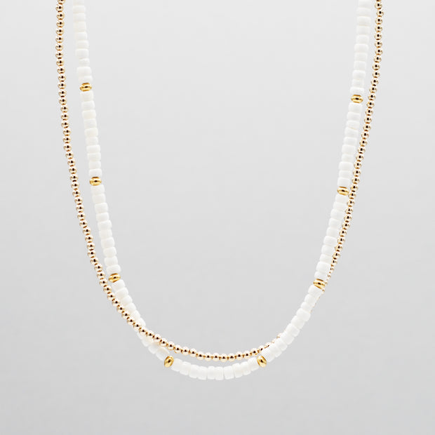 White Shell & Goldfill Beaded Necklace Layering Set