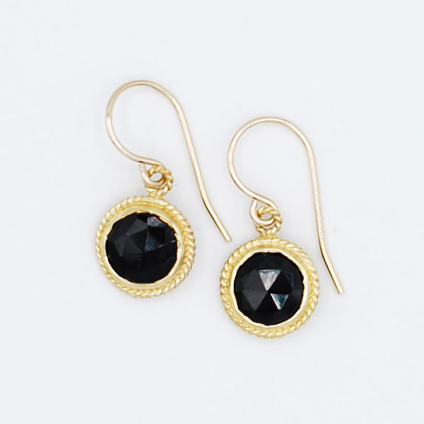 Black Onyx & Goldfill Earrings