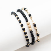 Black Onyx & Sparkle Goldfill Bracelet Set