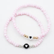 Light Pink Seed Bead Heart Bracelet
