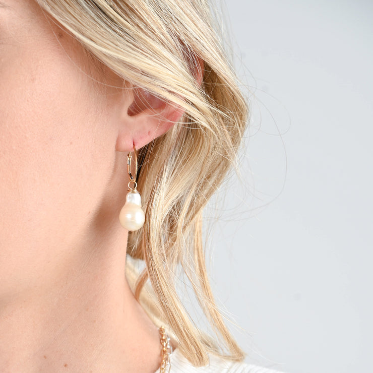 Clip Hoops & Freshwater Pearl Drops