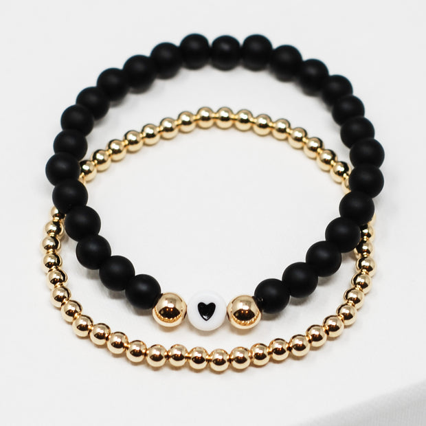 Matte Black Onyx Heart & Goldfill Bracelet Set