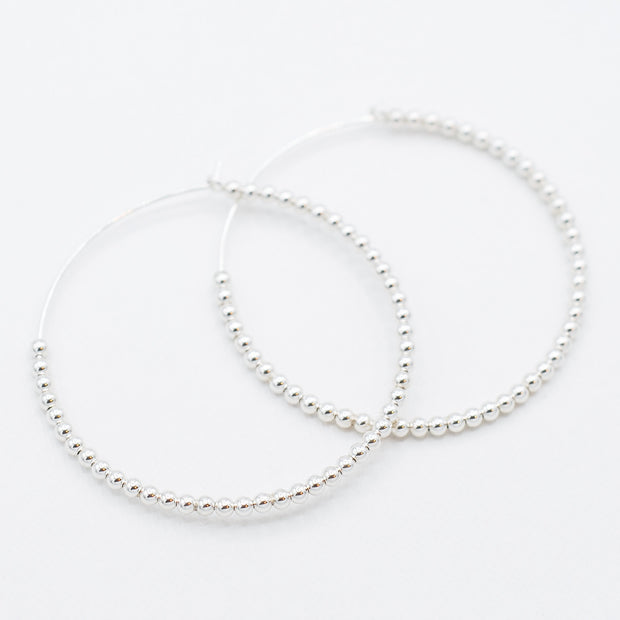Large Sterling Silver 2.5mm Beaded Hoops